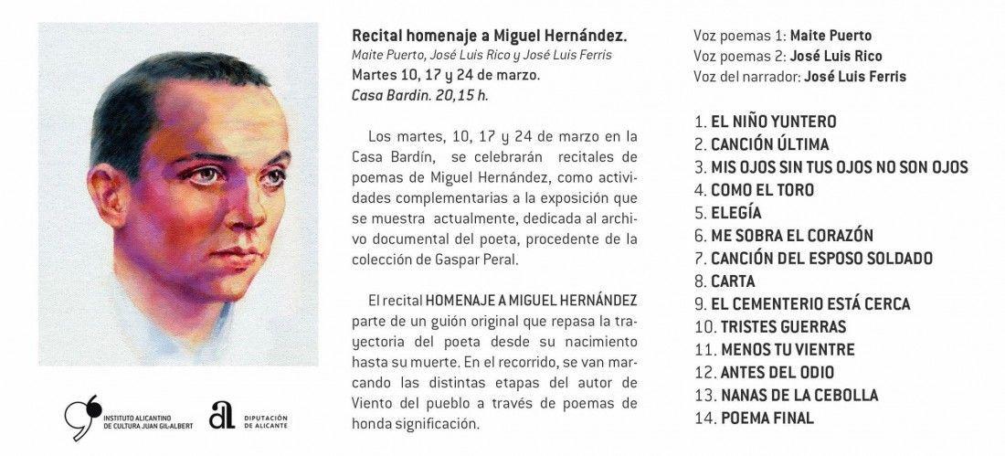 La Casa Bardín ofrece sentidos recitales en homenaje a Miguel Hernández en LETRAS