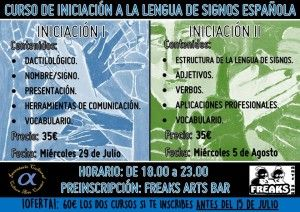 Curso de iniciación a la lengua de signos en el Freaks en CONFERENCIAS