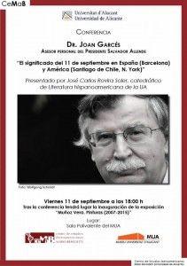 Joan Garcés analizará en el MUA el significado del 11-S en España y América en CONFERENCIAS