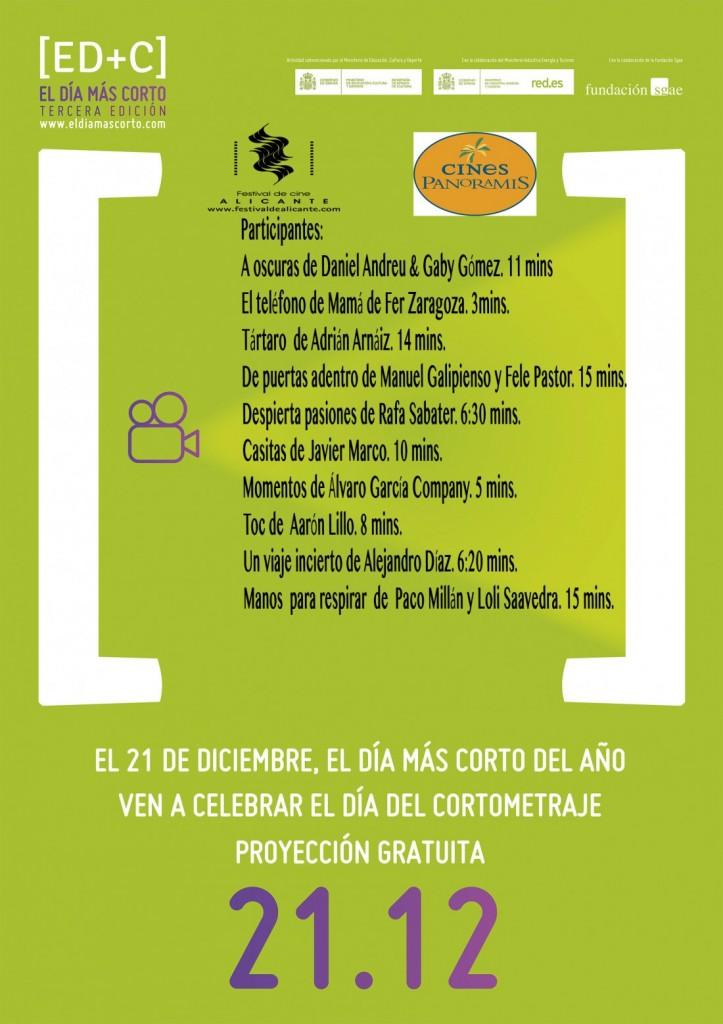 'El día más corto' proyectará el 21 de diciembre diez cortometrajes alicantinos en CINE
