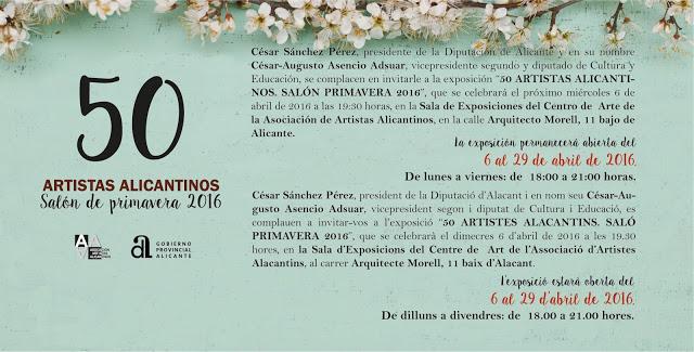 La Diputación presenta la exposición '50 Artistas Alicantinos. Salón de Primavera 2016' en PINTURA