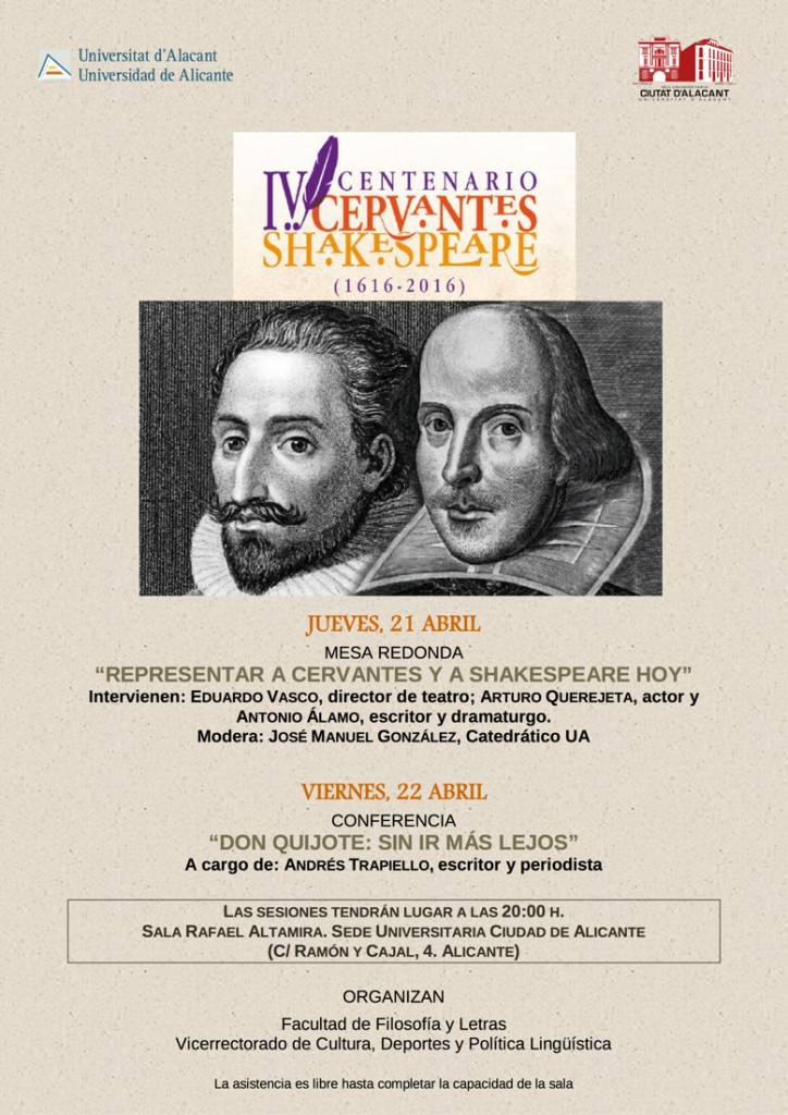 La Sede Ciudad de Alicante conmemora el IV Centenario de Cervantes y Shakespeare en CONFERENCIAS LETRAS