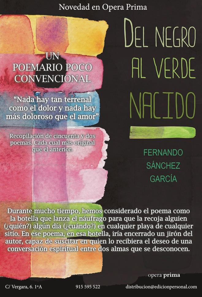 El villenense Fernando Sánchez García presenta su poemario 'Del negro al verde nacido' en LETRAS