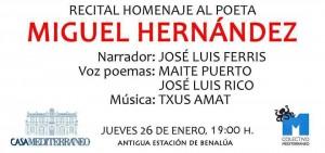 Recital de poesía en homenaje a Miguel Hernández en Casa Mediterráneo en LETRAS