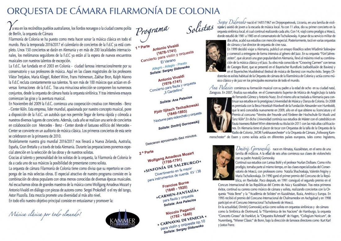 La Orquesta de Cámara Filarmonía de Colonia de nuevo en Torrevieja y Xàbia en MÚSICA