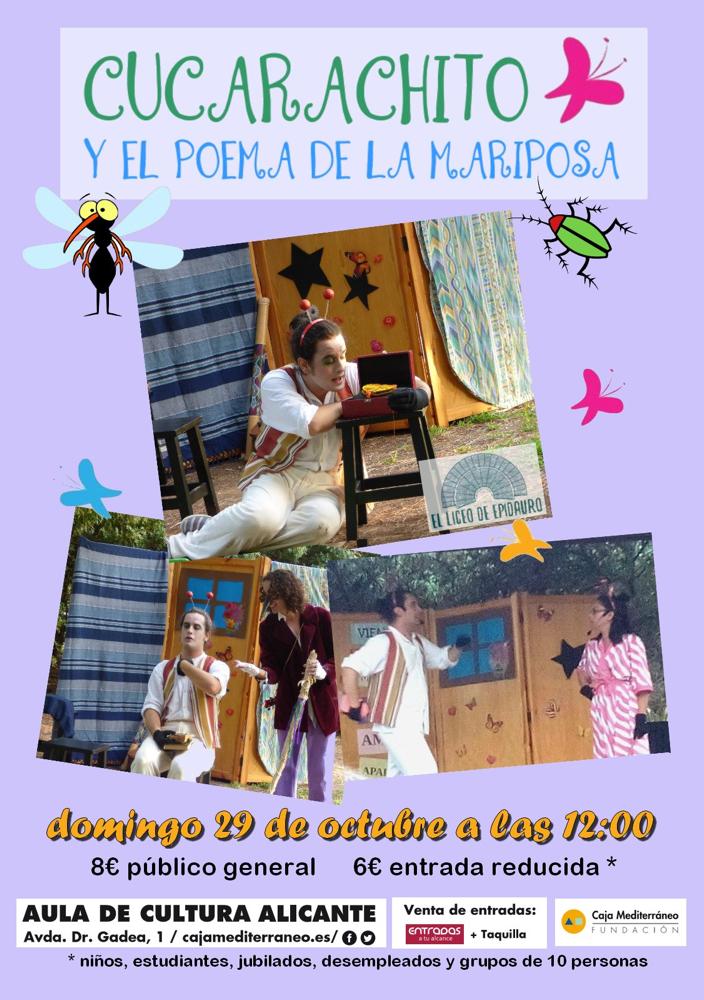 'Cucarachito y el poema de la mariposa', teatro familiar en el Aula de Cultura de la CAM en ESCENA