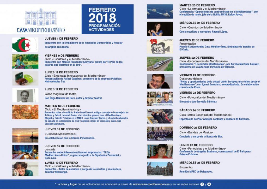 Economía, cultura y artes escénicas colman el mes de febrero en Casa Mediterráneo en CONFERENCIAS ESCENA LETRAS MÚSICA