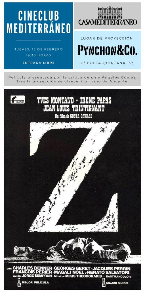 'Z', de Costa-Gavras, inaugura el Cineclub de Casa Mediterráneo en Pynchon&Co en CINE