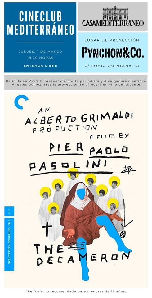 Casa Mediterráneo proyecta 'Il Decameron' de Pasolini en Pynchon&Co en CINE