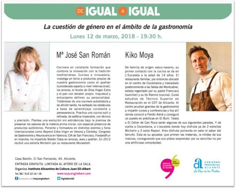 Tecnología y gastronomía centran los debates 'De igual a igual' del Gil-Albert en CONFERENCIAS