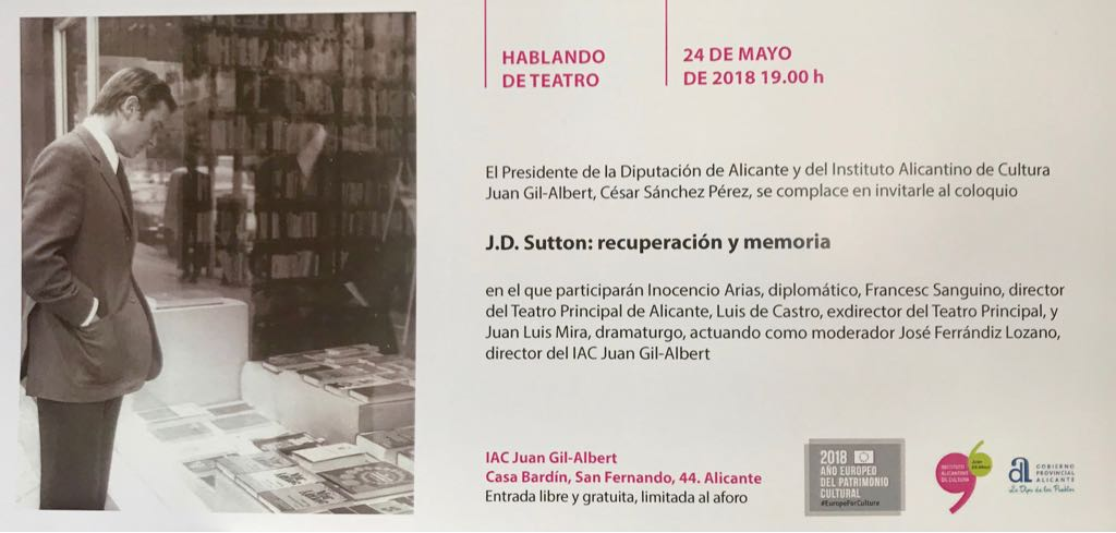 La obra teatral seleccionada de J.D. Sutton será publicada por el Gil-Albert en ESCENA