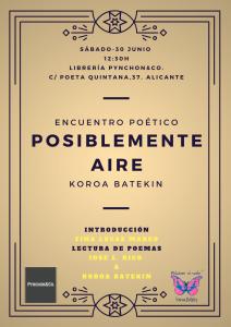 La poesía de Koroa Batekin, 'Posiblemente aire', llega a Pynchon&Co en LETRAS