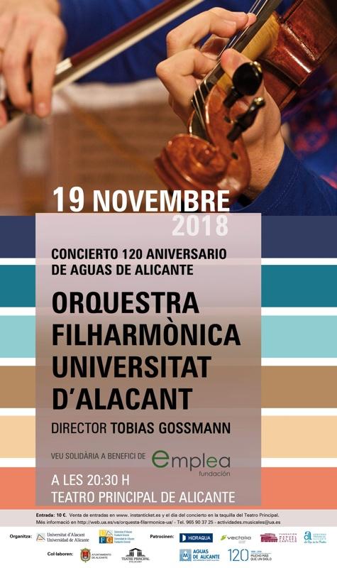 La OFUA ofrece un concierto solidario en el 120 aniversario de Aguas de Alicante en MÚSICA