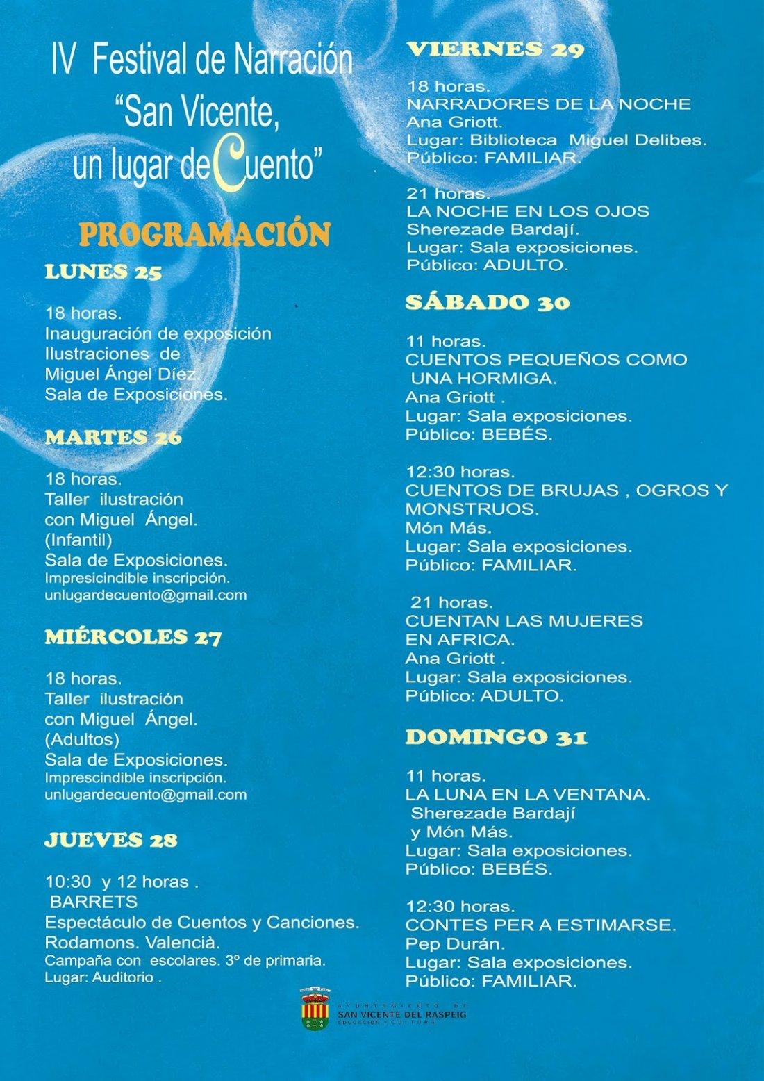San Vicente acoge el IV Festival de Narración Oral 'Un lugar de cuento' en LETRAS