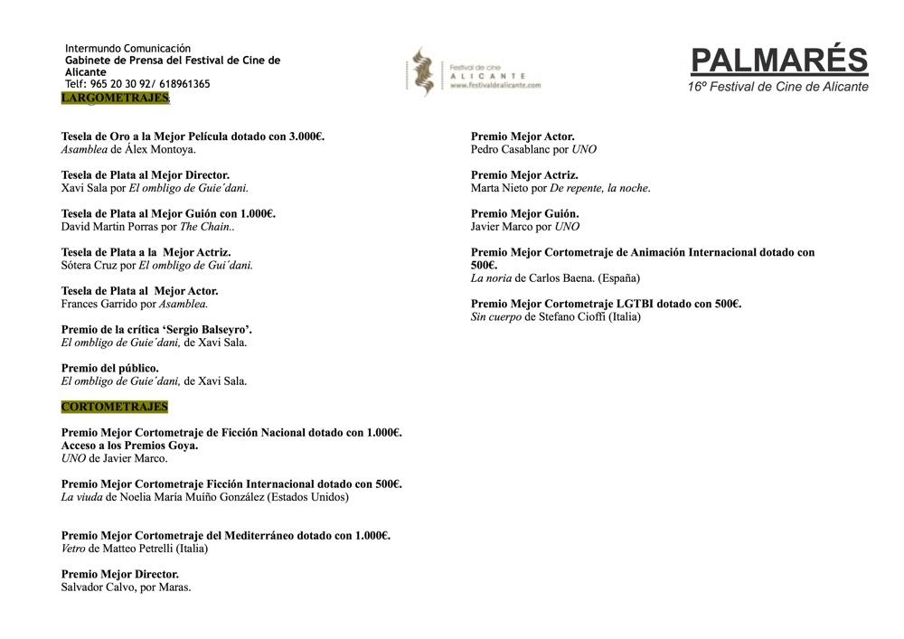 'Asamblea' se alza con la Tesela de Oro del 16º Festival de Cine de Alicante en CINE