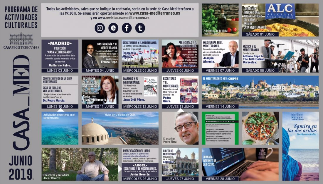 Literatura y gastronomía centran el programa de junio de Casa Mediterráneo en CONFERENCIAS