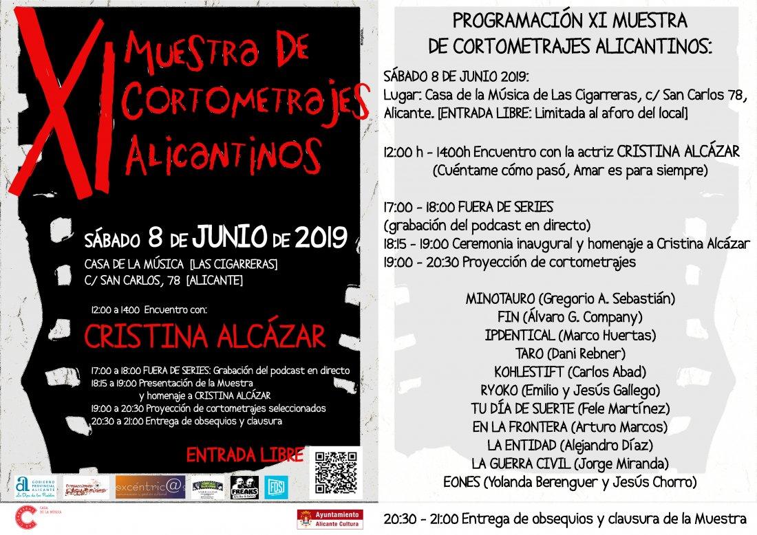La XI Muestra de Cortometrajes Alicantinos rinde homenaje a Cristina Alcázar en CINE DESTACADOS