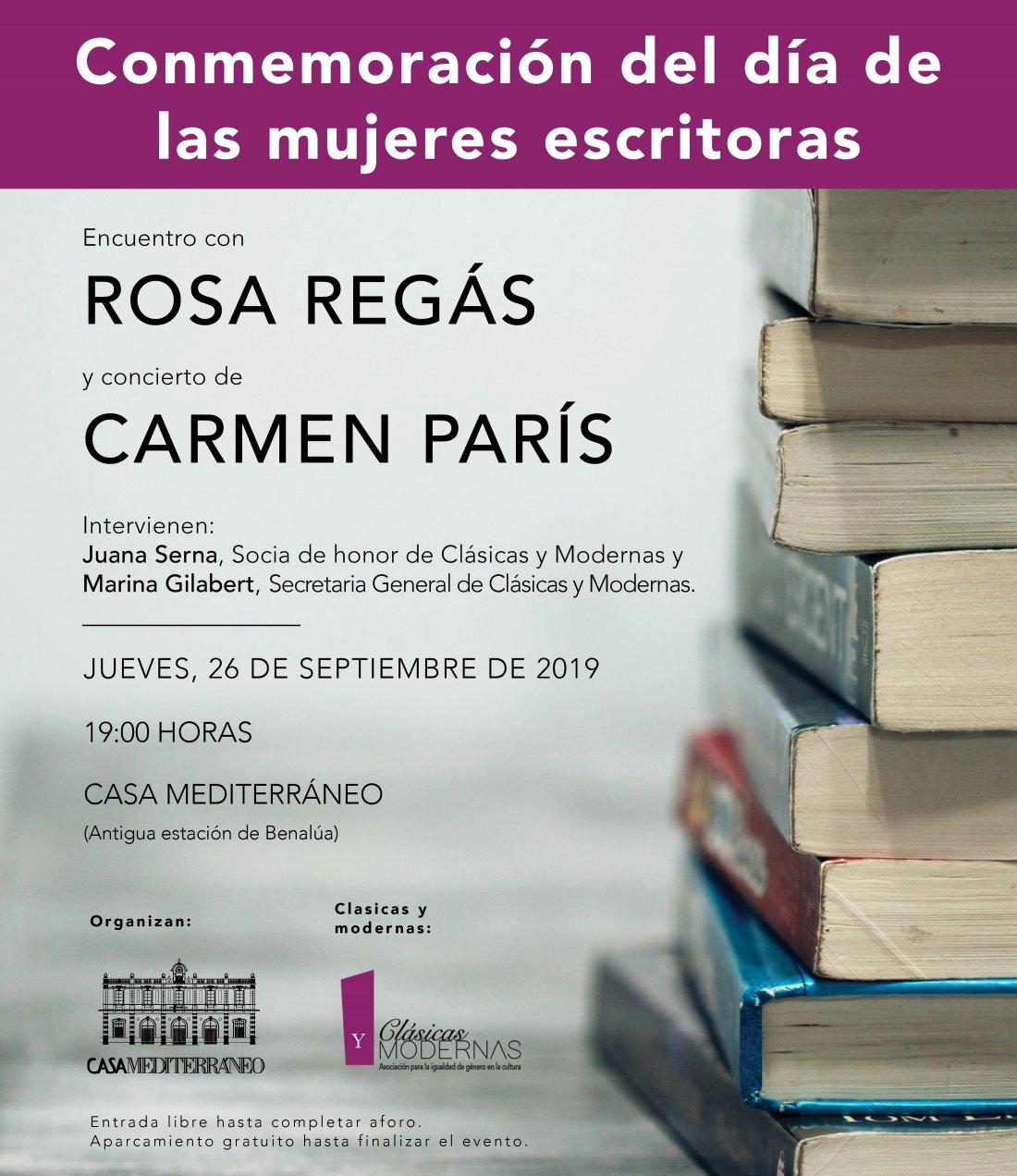 Rosa Regás y Carmen París celebran el Día de las Mujeres Escritoras en Casa Mediterráneo en LETRAS MÚSICA