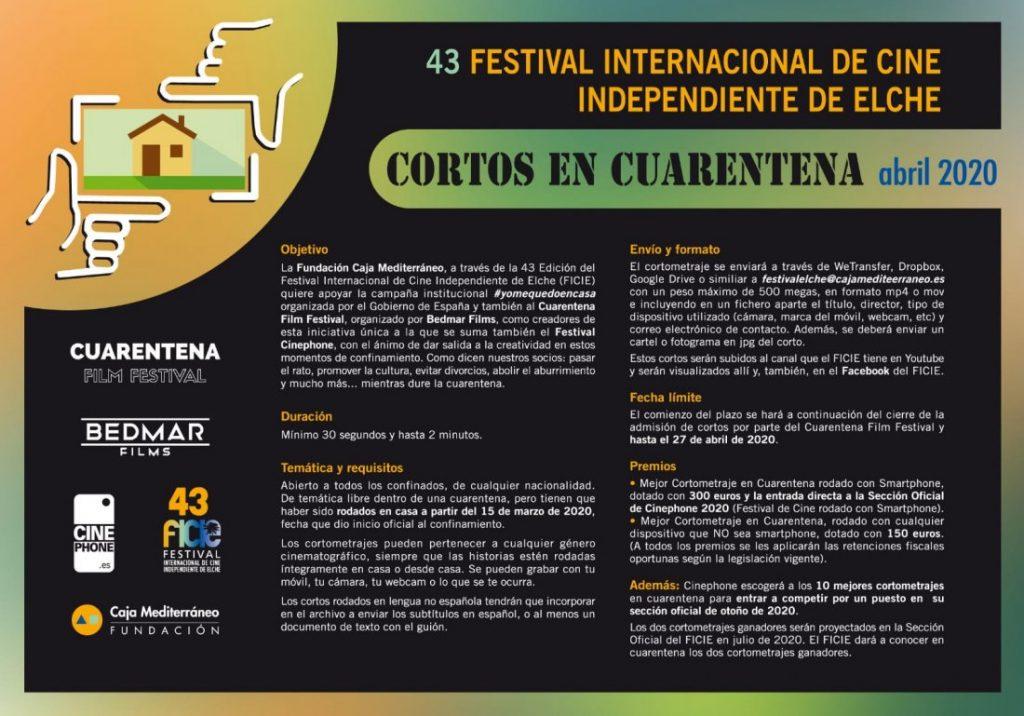 El Festival de Cine de Elche convoca el concurso 'Cortos en cuarentena' en CINE