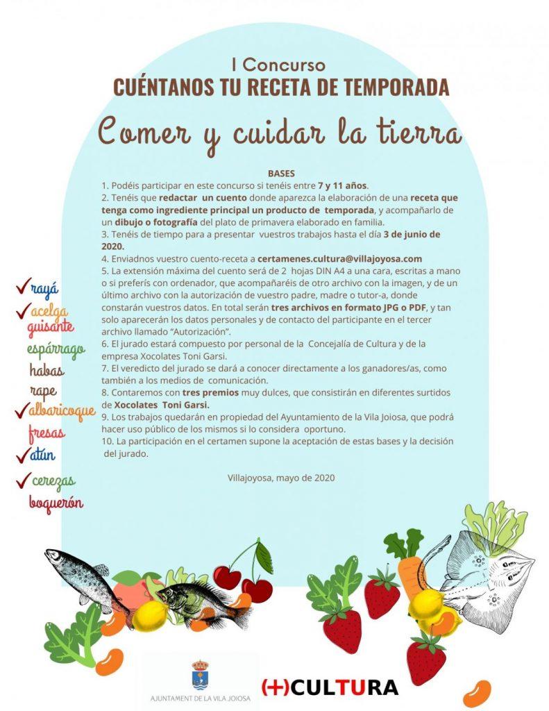 El Ayuntamiento de Villajoyosa convoca el concurso infantil 'Cuéntanos tu receta de temporada' en GASTRONOMÍA