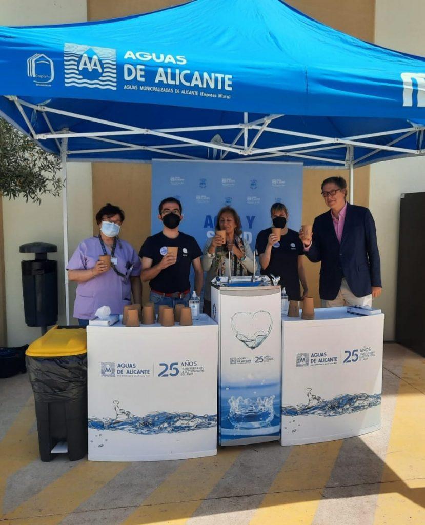 Aguas de Alicante y APSA instalan quioscos para dispensaragua del grifo en el vacunódromo de Ciudad de la Luz en MEDIO AMBIENTE